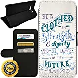 Flip Wallet Case for Galaxy S8 (Christian Bible Verse White Proverbs 31 25) with Adjustable Stand and 3 Card Holders   Shock Protection   Lightweight   Includes Stylus Pen by Innosub