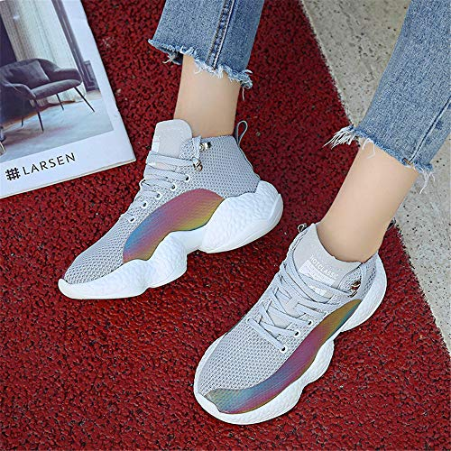 Korean Flame Of Women's The Running Shangyi Grey Wild Version White Casual Breathable Shoes Mesh XwaddH
