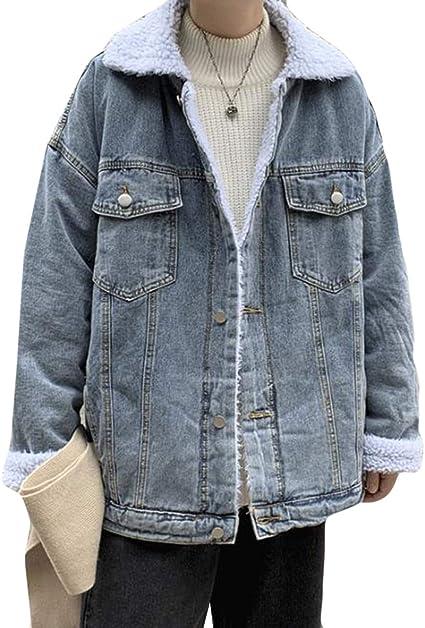 DeBangNiデニムジャケット メンズ ゆる デニムコート 裏ボア 厚手 あったたか ストリート系アウター おしゃれ 冬 防風 男性 ボアブルゾン 韓国風 ドロップショルダー カジュアル シンプル