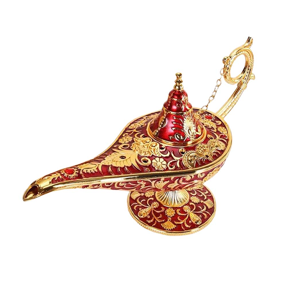 Gusnilo Luxury Classic Vintage Collectable Rare Legend Aladdin Magic Genie Costume Lamp Home Table Decoration & Gift (Golden)