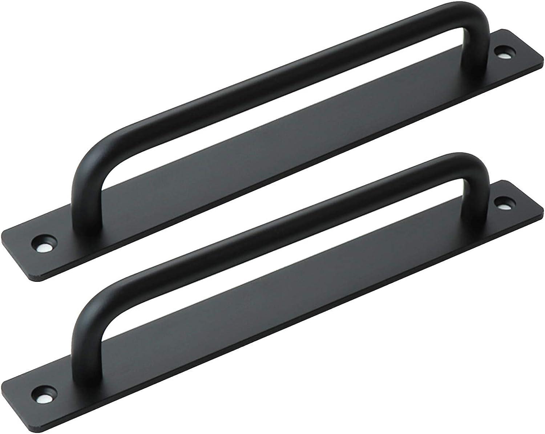 2 tiradores de puerta, tiradores negros para puerta de cocina, manijas de gabinete de granero corredizas para puertas de casa, puertas de madera, puertas de balcón (distancia del agujero: 192 mm)