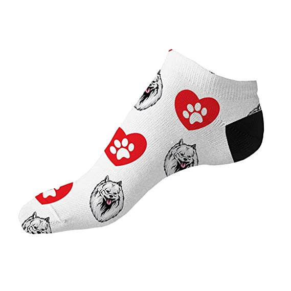 Spitz Mix Dog Paws Pattern Men-Women Adult Ankle Socks Crazy Novelty Socks