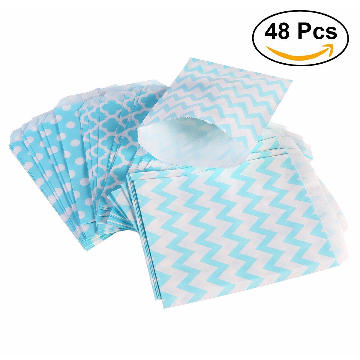 NUOLUX 48pcs rayas de lunares Chevron Boda de la barra de caramelo bolsas de regalo del partido bolsas de papel bolsa (azul)