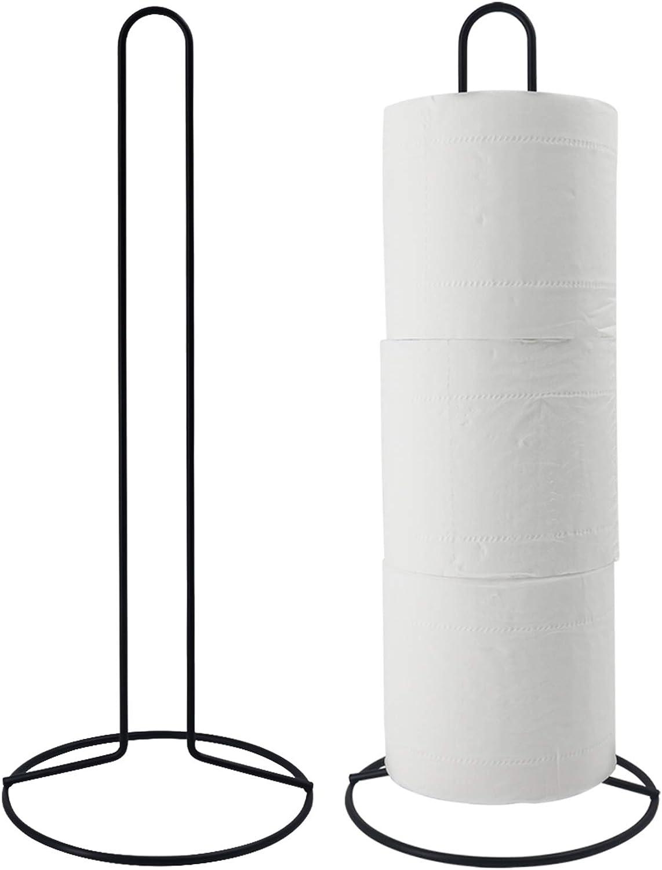 TOPSKY Toilet Paper Holder, Free Standing Toilet Tissue Paper Roll Storage Holder for Bathroom and Kitchen Storage, Black (Stand Holder)
