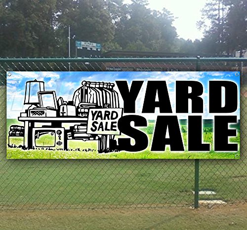 Yard Sale 13 oz Heavy Duty Vinyl Banner Sign with Metal Grommets, New, Store, Advertising, Flag, (Many Sizes Available) (Yards Banner Flag)