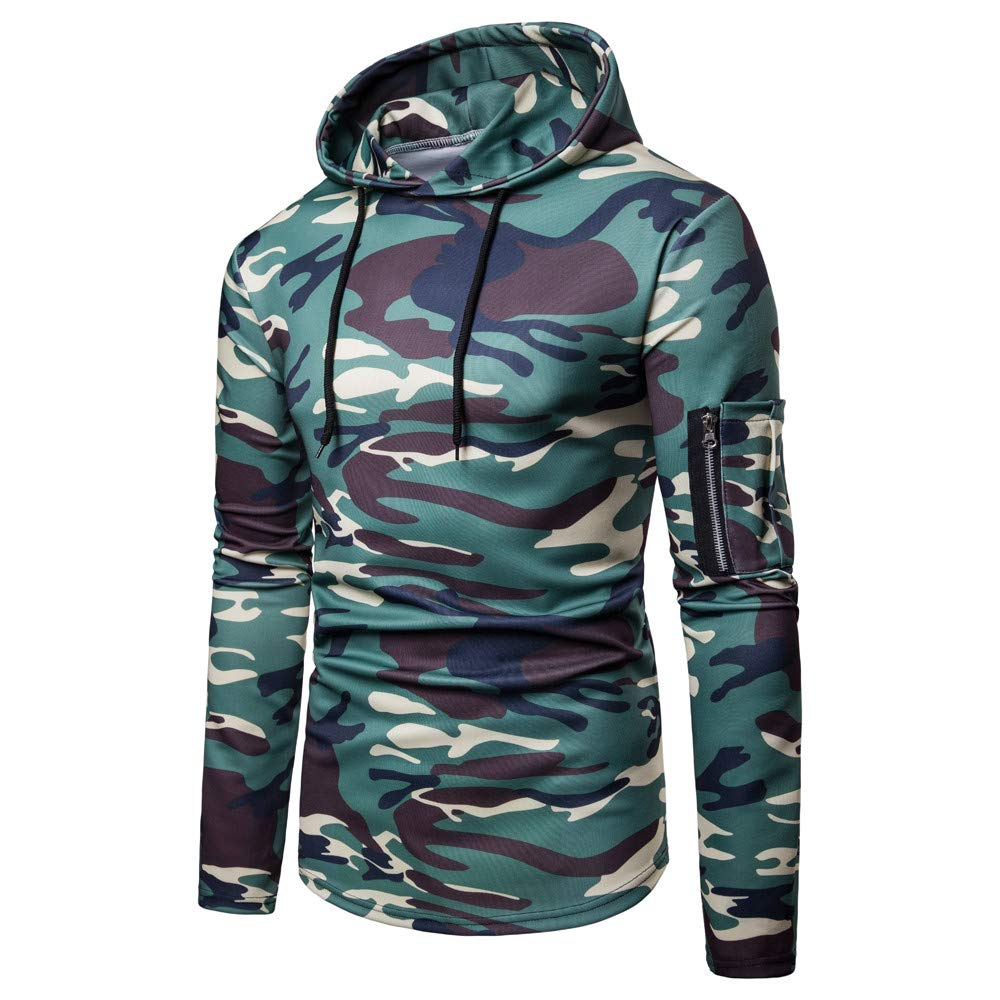 iLXHD Sweatshirts Zipper Casual Slim Fit Pullover Camouflage Blouse Top Hoodies(Green ,L2)