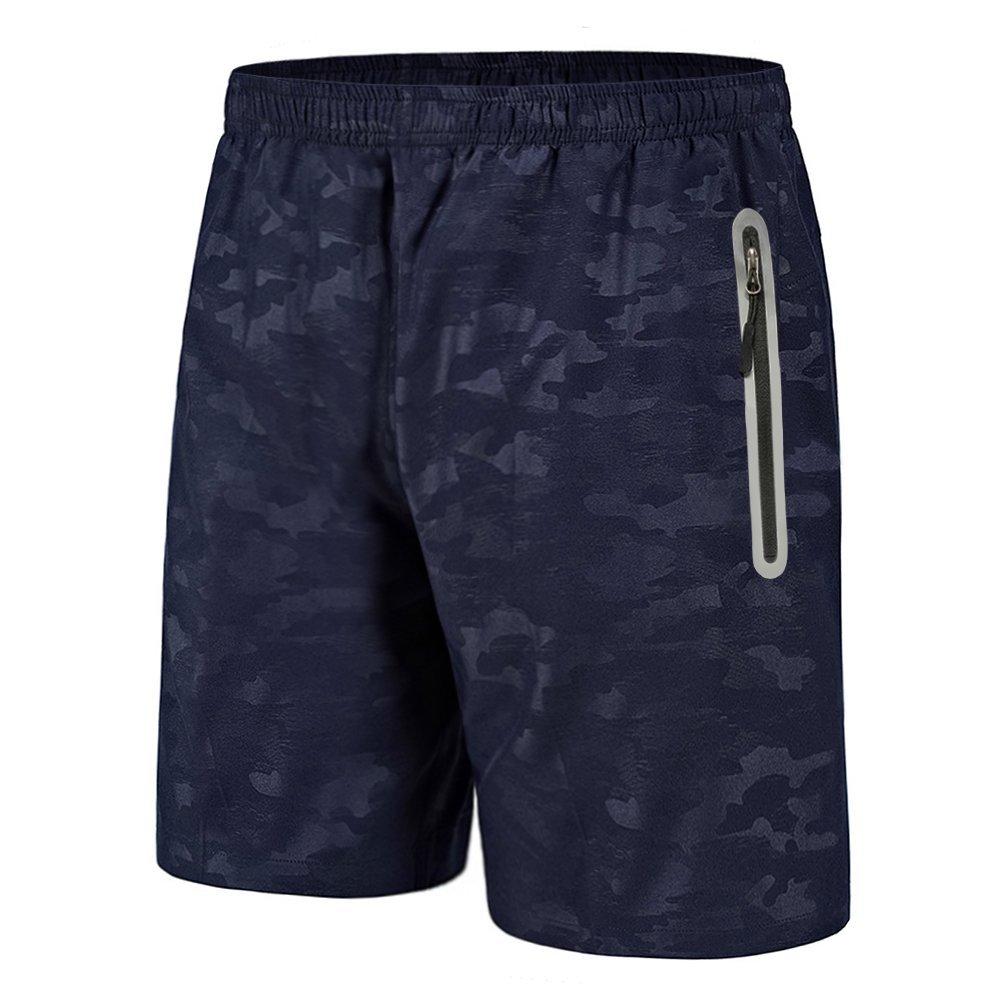 BIYLACLESEN Mens Summer Active Shorts Loose Fifth Reflective Beach Shorts Print