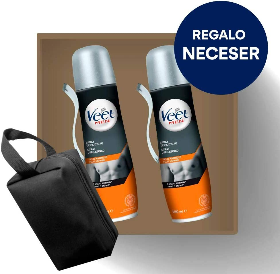Crema Depilatoria Hombre | Veet for Men | Spray Depilatorio Hombre | Piel Normal | Pack 2x150ml y Neceser de Regalo: Amazon.es: Salud y cuidado personal