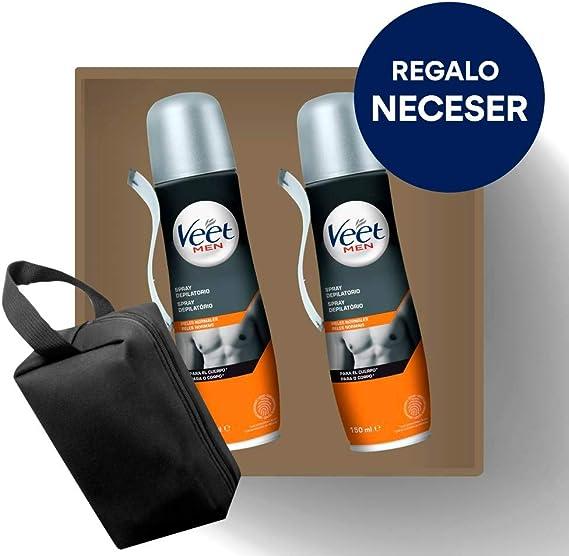 Crema Depilatoria Hombre | Veet for Men | Spray Depilatorio Hombre | Piel Normal | Pack 2x150ml y Neceser de Regalo: Amazon.es: Salud y cuidado personal
