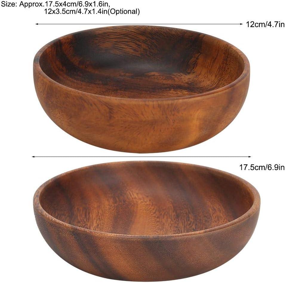 Ensaladera de madera Acacia Cuenco de madera Bocadillo para ensaladas de frutas Bocadillos 12 * 3.5cm