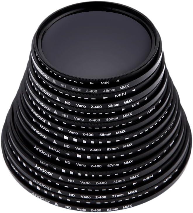 Andoer 72mm Fader Neutral Density Adjustable ND2 ND400 Variable Filter for Canon Nikon DSLR Camera