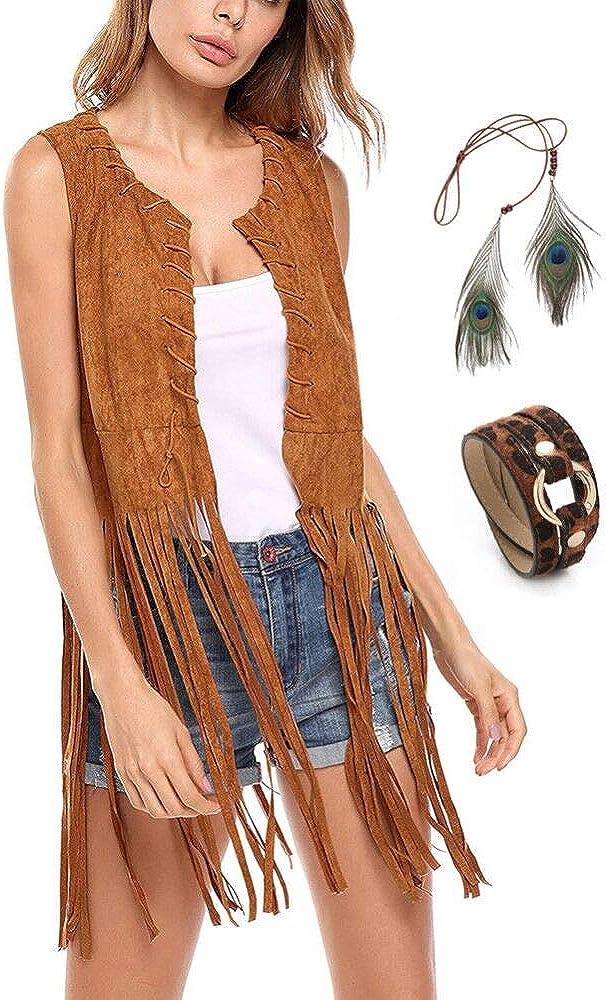 Chaleco de mujer con borla sin mangas vintage 70s cárdigan con flecos Hippie Outfit de piel ante sintético Moda Street-Wear