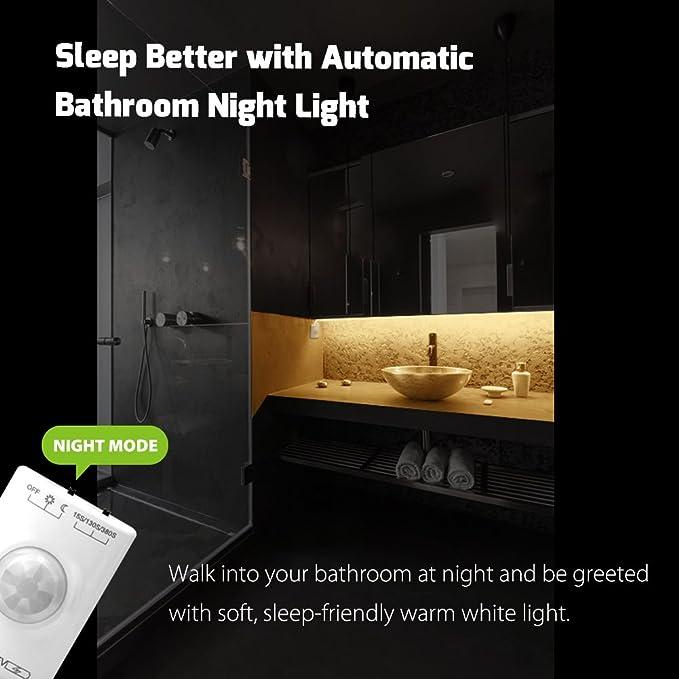 Double Bed Megulla Motion Activated Bed Lighting Dimmable Flexible LED Strip Motion Sensor Night Light 12V Power Supply Optional Smart Timer -3000k Warm White