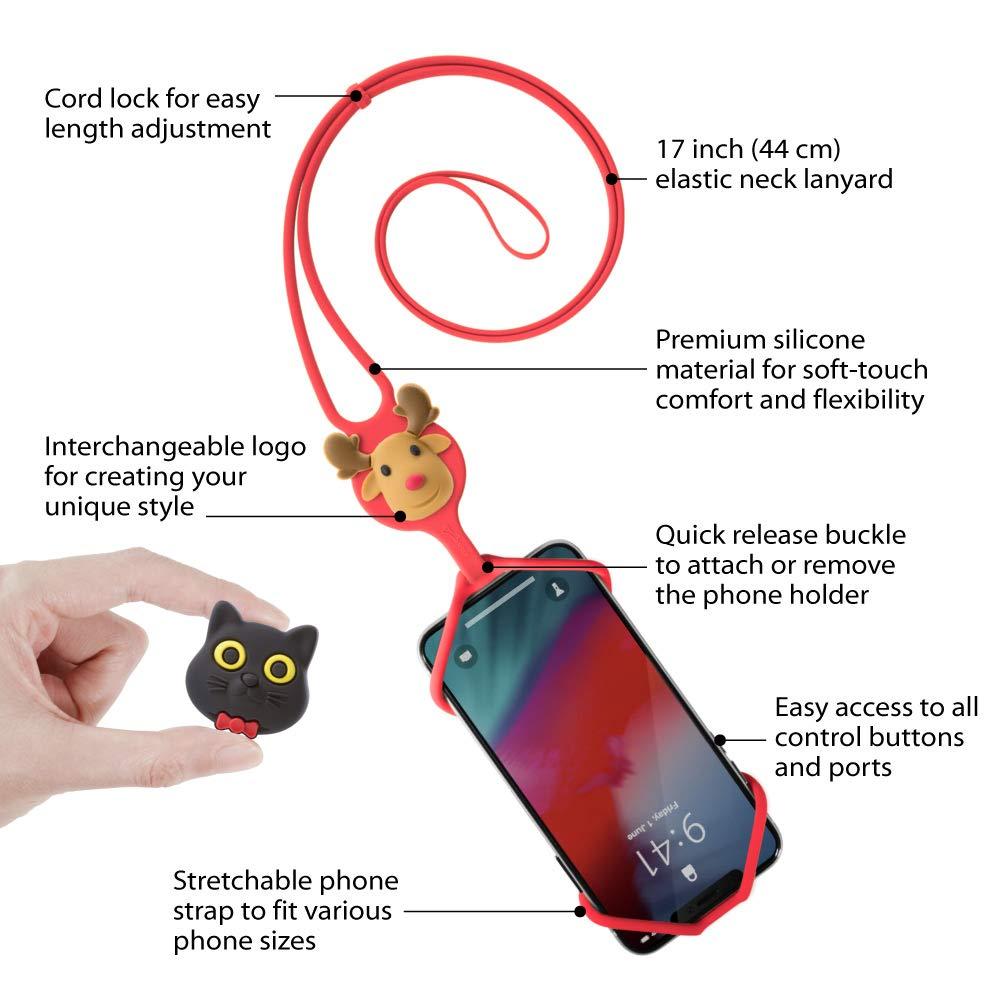 Lani/ère tour de cou de T/él/éphone Portable en Silicone /Étui Coque Universel avec Cordon Sangle Dragonne pour Smartphone iPhone XR XS Max X 8 7 6 Plus Samsung Galaxy S10 S9 S8 S7 Note 9 Pixel Huawei