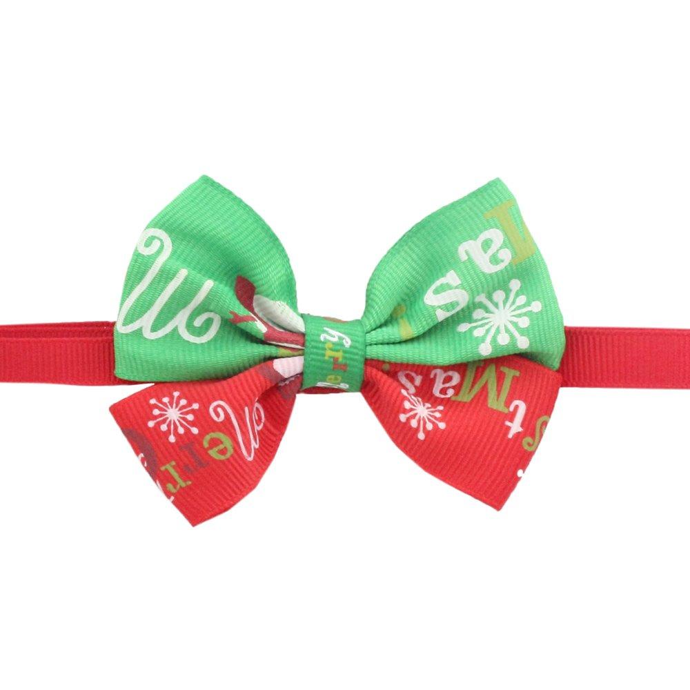 50PCs Dog Collar Handmade Bow Tie Red Green Colorblock Merry Christmas Dress up Small Medium Dog