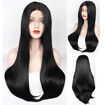 Amazon.com : ZeroBlizzard Long Straight Black Wig Middle Part ...