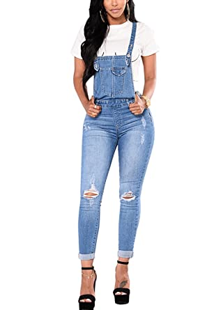 hot-selling genuine unique style value for money Simgahuva Womens Tight Denim Overalls Ripped Jumpsuit Long ...