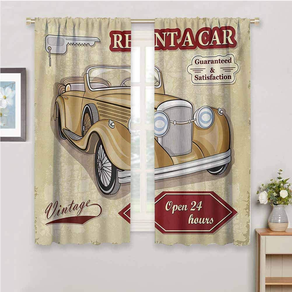 Soundproof Privacy Window Curtains Cars Vintage Car Rentals Commercial Illustration Print Keys Original Dated Auto Objects Design Blackout Shades for Bedroom W63 x L45 Inch Tan Red