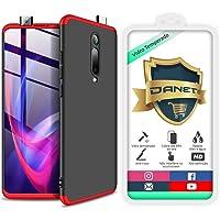 Kit Capa Capinha Anti Impacto 360 Full Para Xiaomi Mi 9t Redmi K20 e K20 Pro - Case Acrílica Fosca Com Película De Vidro Temperado - Danet (Preto com vermelho)