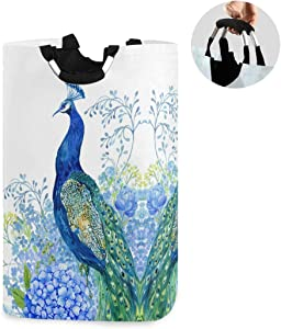 ALAZA Large Laundry Basket Peacock Blue Flowers Watercolor Painting Laundry Bag Hamper Collapsible Oxford Cloth Stylish Home Storage Bin with Handles, 22.7 Inch