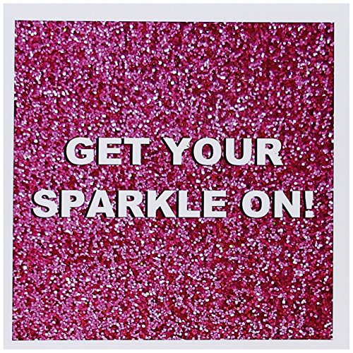3dRose Greeting Cards, Get Your Sparkle On, Fun Girly Hot Pink Faux Glitter Texture Graphic, Glam Girls Humor, Bling, Set of 6 (gc_112890_1)