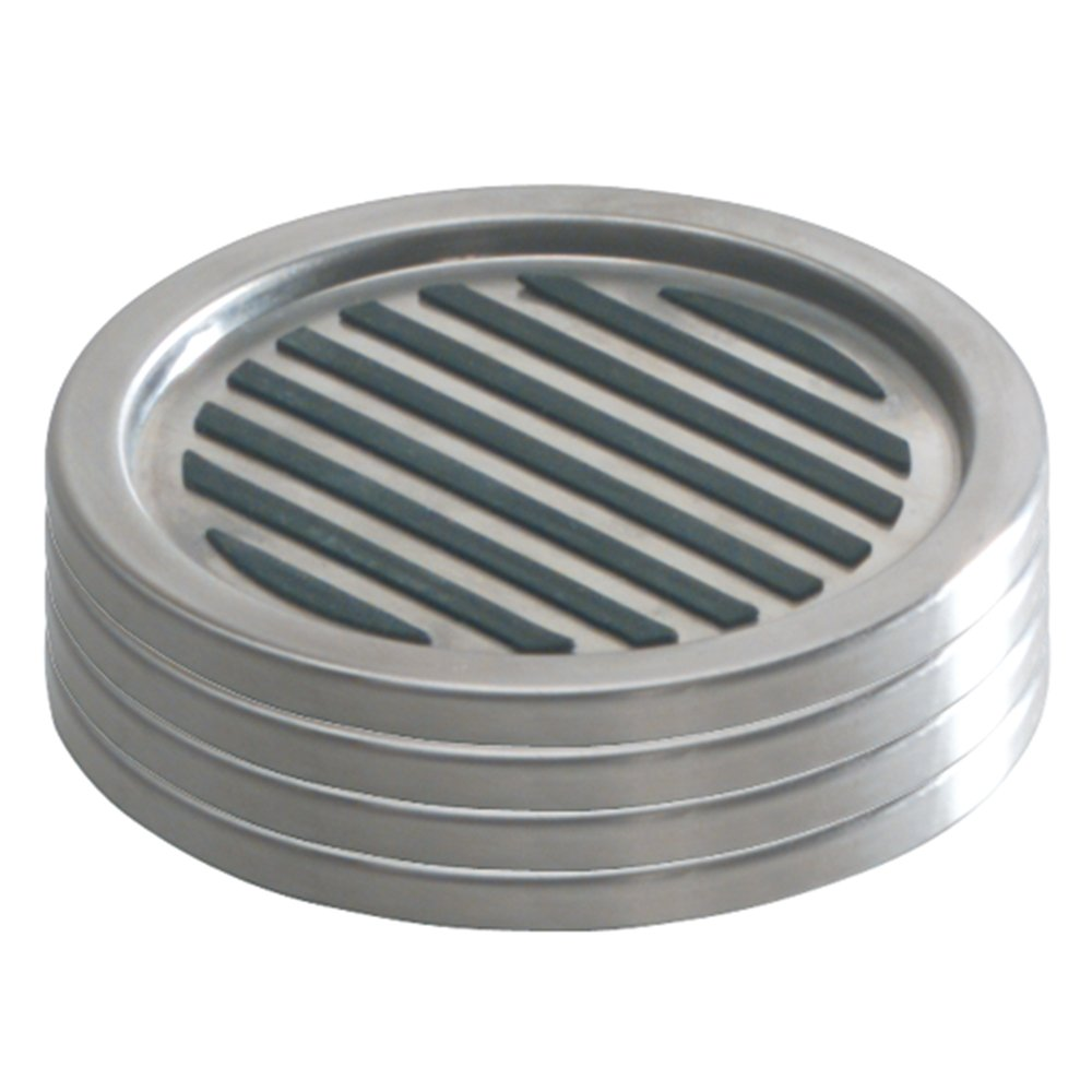 InterDesign Forma Drink Coasters - Set of 4, Brushed Stainless Steel/Black
