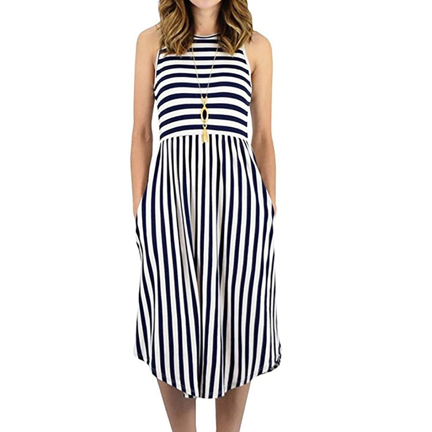 e852e08051b2b Top9: NEWONESUN 2018 Womens Dress Striped Sleeveless Casual Summer Beach  Midi Dresses with Pockets Dress