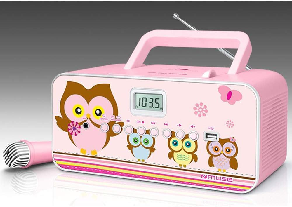 Muse M 29PK radio CD pour les enfants avec microphone et la fonction Sing A Long Karaoke (CD MP3, USB, AUX in écran LCD, antenne télescopique), rose