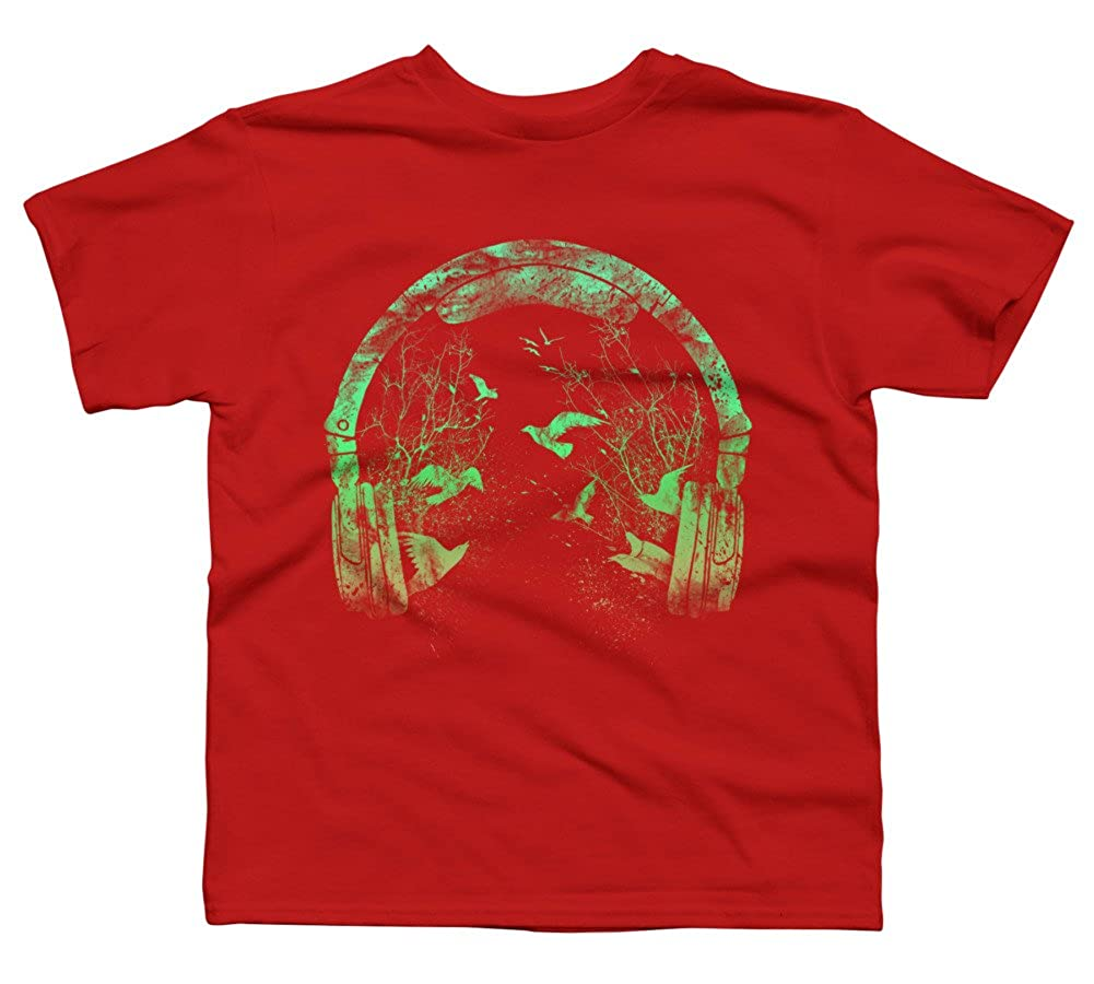 Design By Humans Headphone nature Boys Youth Graphic T Shirt