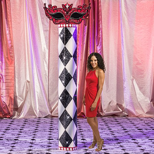 Shindigz Red Harlequin Masquerade Mardi Gras Column Photo Booth Prop Background Backdrop Party Decoration Scene Setter ()