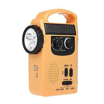 GDSZ Energía Solar Radio Emergencia Teléfono Móvil Cargador FM Am con Linterna LED Emergencia Lámpara Sirena Alerta para Actividades Al Aire Libre: ...