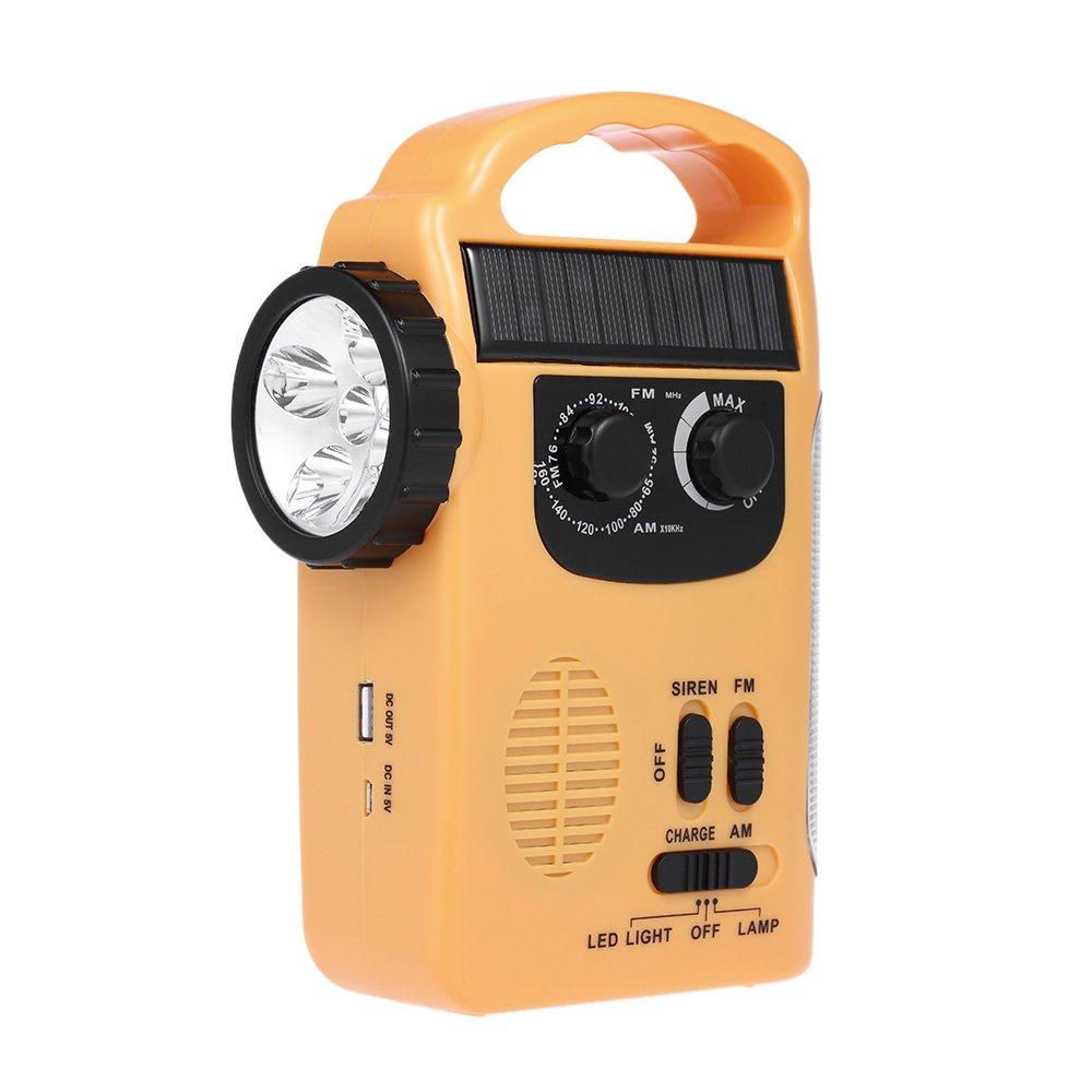 Walmeck Solar + Hand Energy Radio Emergency Power Bank FM AM Dual Band Radio w/LED Flashlight Siren Alert for Hike