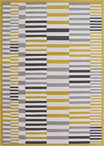 The Rug House Tapis de Salon Milan Traditionnel, Ocre, Jaune Moutarde, Gris et Beige, Motif géométrique Moderne 160cm x 230cm