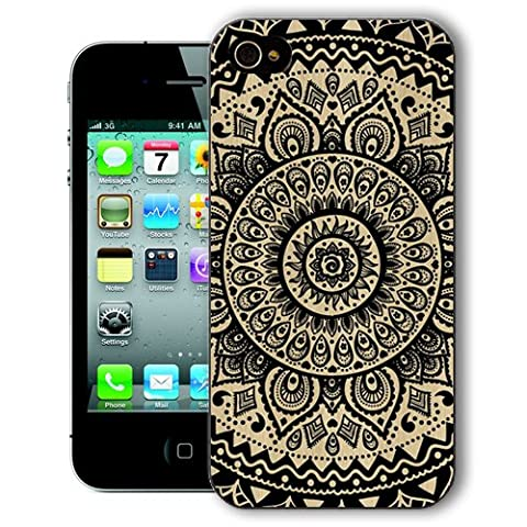 ChiChiC Iphone Case, i phone 4 4g 4s case,Iphone4 iphone4g iphone4s covers, plastic cases back cover skin protector, geometric black mandala wood (Iphone 4 Case Artsy)