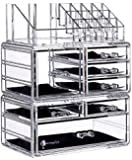 """Cq acrylic 7 Drawers and 16 Grid Makeup Organizer with Cosmetic Storage Cases,9.5""""x6.5""""x11.8"""",Clear 2 Piece Set"""