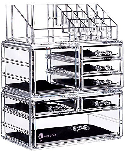 Genial Cq Acrylic 7 Drawers And 16 Grid Makeup Organizer With Cosmetic Storage  Cases,9.5u0026quot;