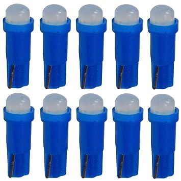 AERZETIX: 10 x Bombillas T5 12V LED COB 1W para salpicadero Luz azul: Amazon.es: Coche y moto