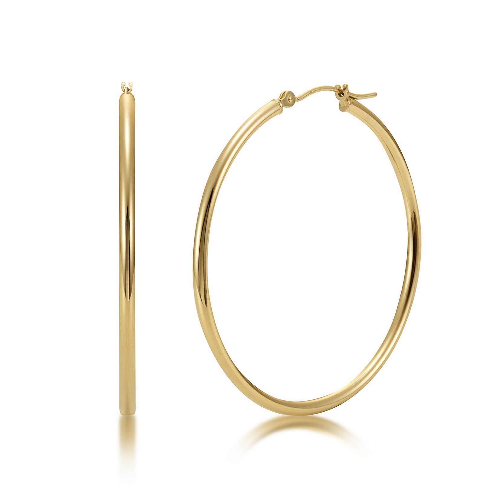 High Polished 14k Yellow Gold 2mm x 40mm Click Top Tube Hoop Earrings - By Kezef Creations