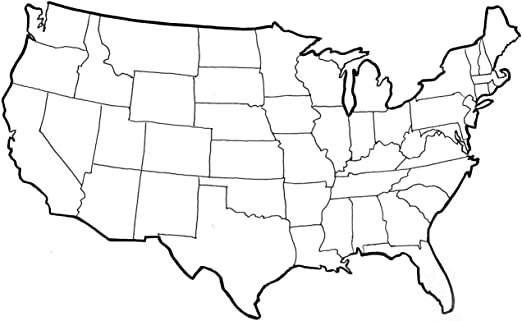 Us Map With States Outline Amazon.com: Map   United States Outline Map Can You Fill in Blank