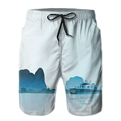 ZAPAGE Boy's Quiet Scenery Quick Dry Lightweight Board Shorts Printed Swim Surf Trunks with Pocket