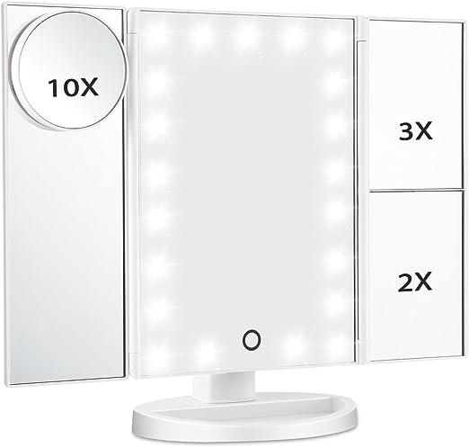 Folding Mirror with Stand Makeup Mirror Bedroom Bathroom Vanity Mirror Black