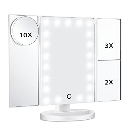 Tri Fold Vanity Mirror With Lights Mesmerizing Amazon Magicfly Led Lighted Makeup Mirror 60X 60X 60X 60X
