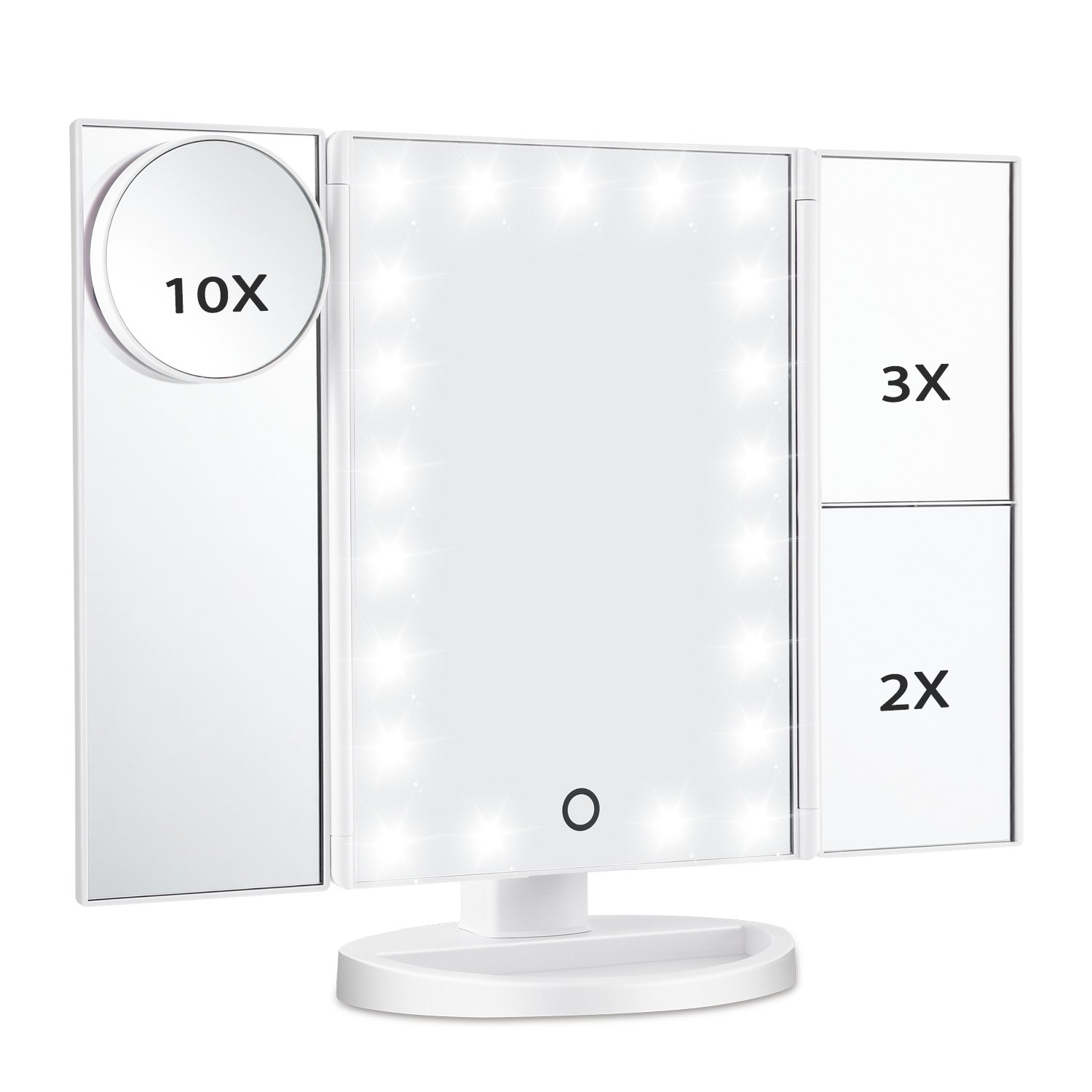 Magicfly Led Lighted Makeup Mirror, 10X 3X 2X 1X Magnifying Mirror 21 LED Tri-Fold Vanity Mirror Touch Screen 180° Adjustable Stand, Brightness Travel Beauty Mirror (White)