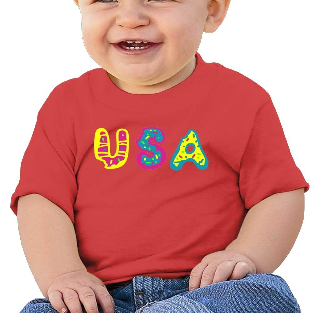 Moniery Cute Short Sleeve Tshirt USA Donuts Birthday Day Baby Boy Toddler