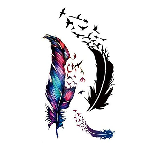 Vollter pájaros Feather Tattoo Body Art Stickers Papel Decal ...