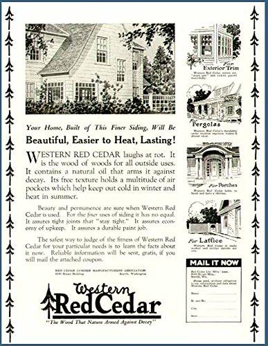 (1925 AD for The Western RED Cedar Lumber Association Original Paper Ephemera Authentic Vintage Print Magazine Ad/Article)