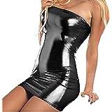 VicSec Una Pieza Vestido Charol Erótica, Súper Elástica Sexy Lencería Falda de PU Cuero de Patente Brillante Protección…