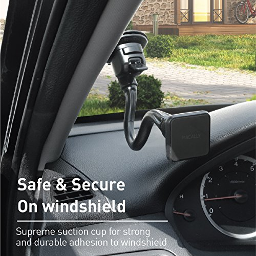 Macally Magnetic Windshield Car Phone Mount Holder with 12'' Long Arm & Super Strong Magnet for iPhone X 8 8 Plus 7 Plus 6s Plus 6 SE Samsung Galaxy S9 S9 Plus S8 Plus S8 Edge S7 S6 Note (MGRIPMAGXL) by Macally (Image #7)