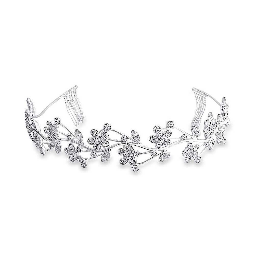 Bling Jewelry Crystal Flower Leaf Bridal Tiara Headband Silver Plated CHR-DH2608