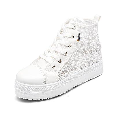 218c580e877e63 Damen Plateau Sneaker Atmungsaktiv Sommer Schnürhalbschuhe Freizeit Schuhe  3.8cm Schwarz Weiß 35-42 High